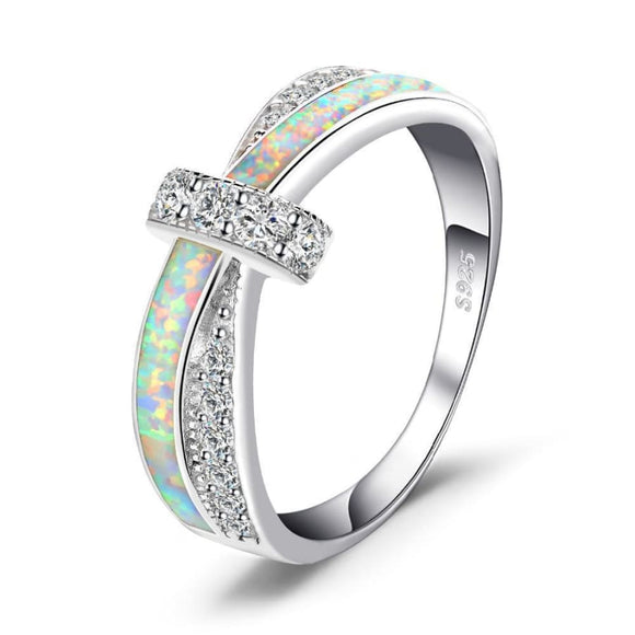 Created Opal Crossover Band Ring 6 / White Opal Jewelry 2019 Gemstone Jewelry Type_Sterling Silver Rings New Silver Jewelry New Trends
