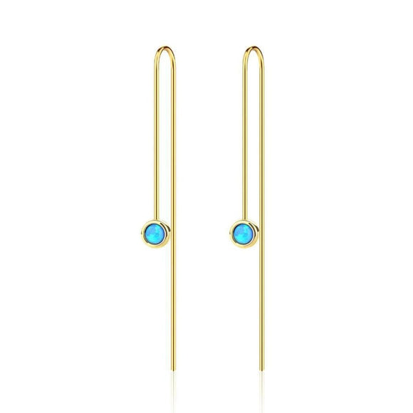 Created Opal Drop Earrings Jewelry 2019 Earrings Gemstone Gold Plated Jewelry Type_Sterling Silver Earrings