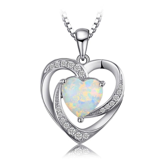Created Opal Love Heart Pendant Jewelry 2019 Gemstone Jewelry Type_Pendants & Necklaces New Silver Jewelry New Trends