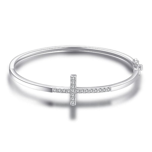 Cross Bangle Bracelet Jewelry 2019 Bracelet Gemstone Jewelry Type_Sterling Silver Bracelets New Silver Jewelry