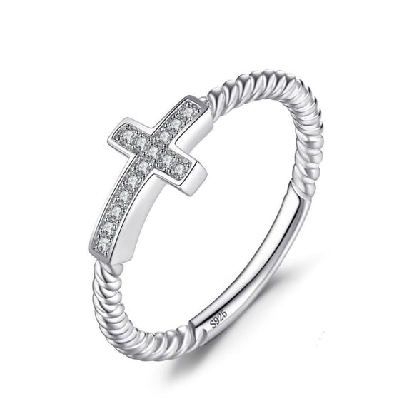 Cross Round CZ Ring 5 / White Jewelry 2019 Gemstone Jewelry Type_Sterling Silver Rings New Silver Jewelry New Trends