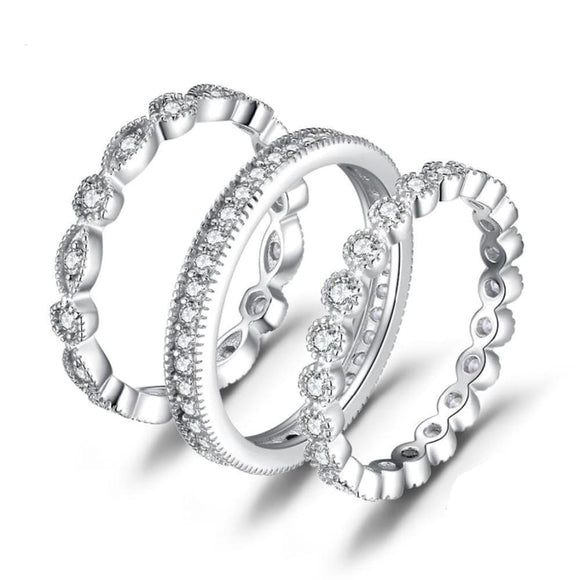 Cubic Zirconia 3 Eternity Band Ring Set 5 Jewelry 2019 Gemstone Jewelry Type_Sterling Silver Rings Jewelry Type_Sterling Silver Sets New