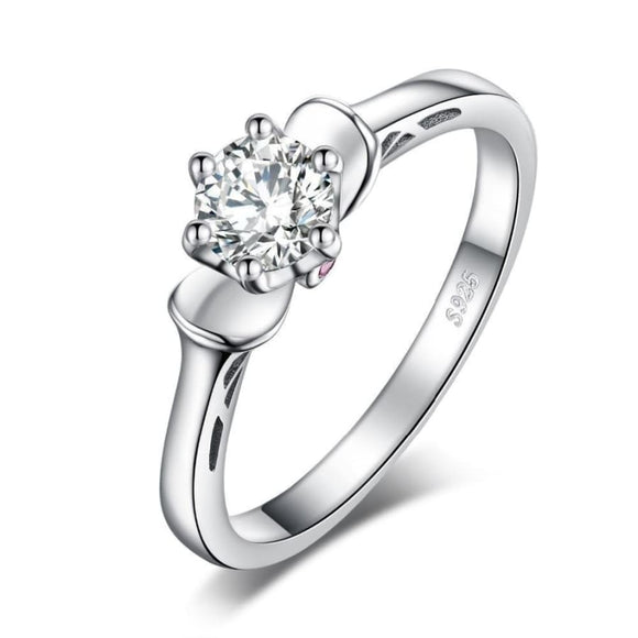 Cubic Zirconia Flower Silver Ring 6 / White Jewelry 2019 Gemstone Jewelry Type_Sterling Silver Rings New Silver Jewelry New Trends