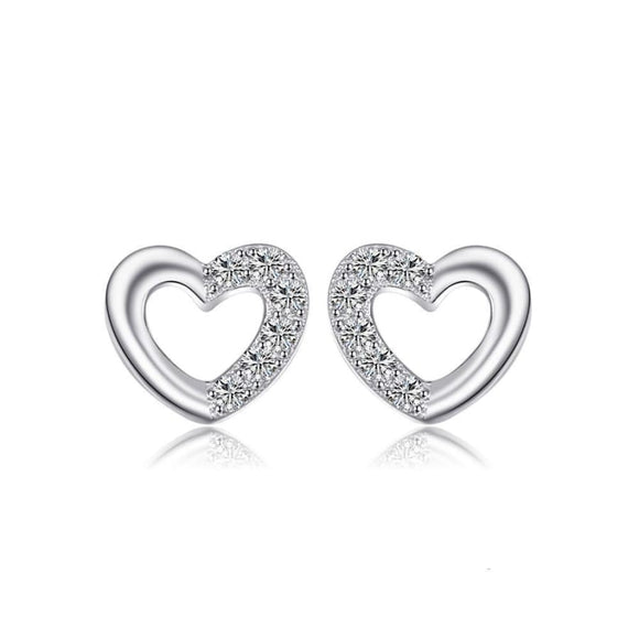 Cubic Zirconia Heart Silver Stud Earrings Jewelry 2019 Earrings Gemstone Jewelry Type_Sterling Silver Earrings New Silver Jewelry