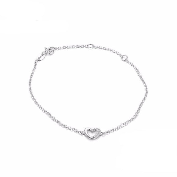 Cubic Zirconia Love Heart Silver Bracelet Jewelry 2019 Bracelet Gemstone Jewelry Type_Sterling Silver Bracelets New Silver Jewelry