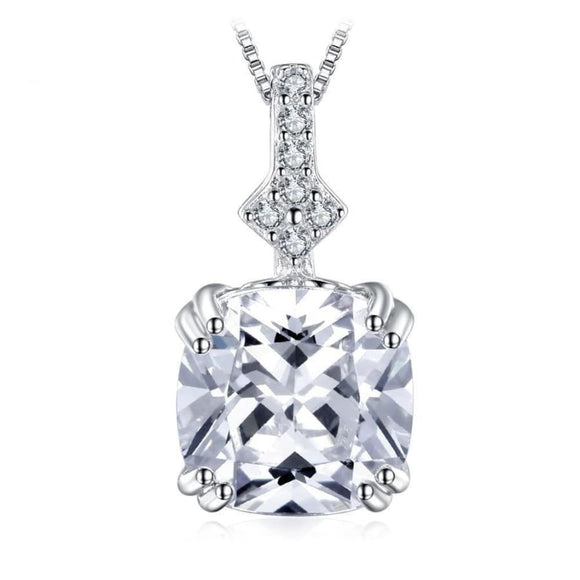 Cushion-Cut CZ Necklace Jewelry 2019 Gemstone Jewelry Type_Pendants & Necklaces Necklace New Silver Jewelry