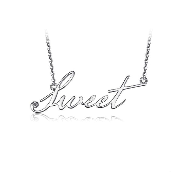 CZ Alphabet Necklace Jewelry 2019 Gemstone Jewelry Type_Pendants & Necklaces Necklace New Silver Jewelry