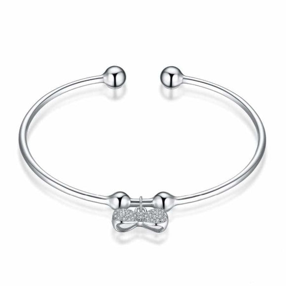 CZ Bow-knot Adjustable Cuff Bracelet Jewelry 2019 Bracelet Gemstone Jewelry Type_Charm Bracelet New Silver Jewelry