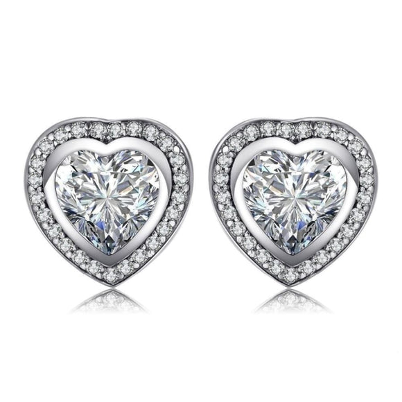CZ Heart Charm Stud Earrings Jewelry 2019 Earrings Gemstone Jewelry Type_Sterling Silver Earrings New Silver Jewelry