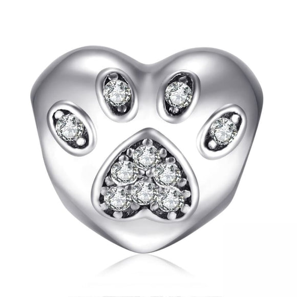 CZ Puppy Palm Heart Charm Jewelry 2019 Charm Gemstone Jewelry Type_Charm Bracelet New Silver Jewelry