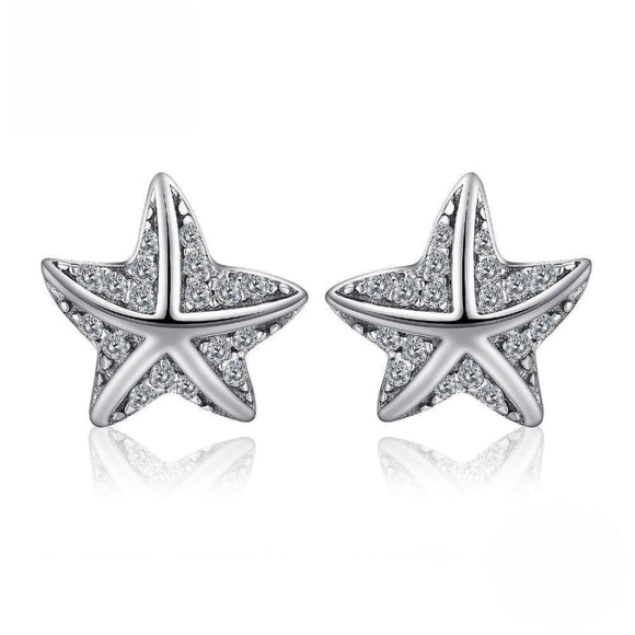 CZ Starfish Stud Earrings Jewelry 2019 Earrings Gemstone Jewelry Type_Sterling Silver Earrings New Silver Jewelry