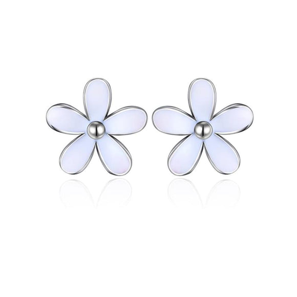Daisies Flower Stud Earrings Jewelry 2019 Earrings Jewelry Type_Sterling Silver Earrings New Silver Jewelry New Trends