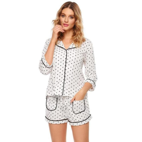 Dot Print Button Shirt PJ Set White / L Comfy Clothing Type_Pajamas & Slippers New New Trends Season_Summer Trends 2019