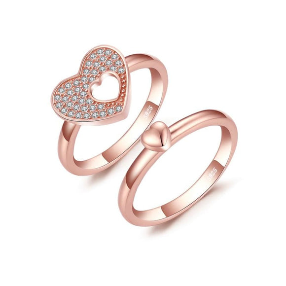 Double Hearts CZ Ring Set 6 / Rose Gold Jewelry 2019 CZ Jewelry Type_Sterling Silver Rings Jewelry Type_Sterling Silver Sets New Silver