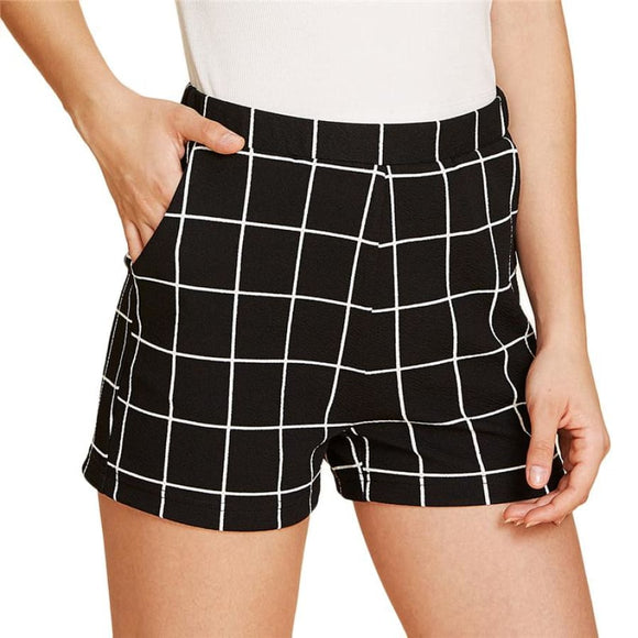 Elastic Waist Plaid Shorts Black Bottoms Black Clothing Type_Shorts Elastic Waist Elegant Fabric has some stretch