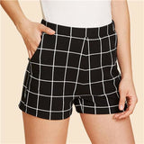 Elastic Waist Plaid Shorts Black Black / XS Bottoms Black Clothing Type_Shorts Elastic Waist Elegant Fabric has some stretch