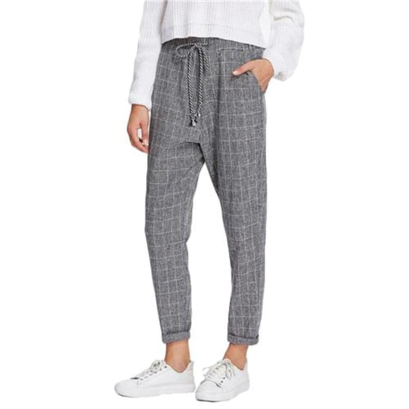 Eleanora Drawstring Plaid Pants Bottoms Broadcloth Casual Clothing Type_Pants Drawstring Fabric has no stretch