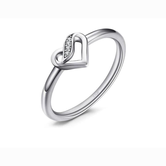 Elegance CZ Heart Engagement Ring 6 / White Jewelry 2019 Gemstone Jewelry Type_Sterling Silver Rings New Silver Jewelry New Trends
