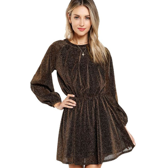 Elina Cella Party Dress Gold / XS Dresses A-Line Above Knee Autumn Bishop Sleeve Button