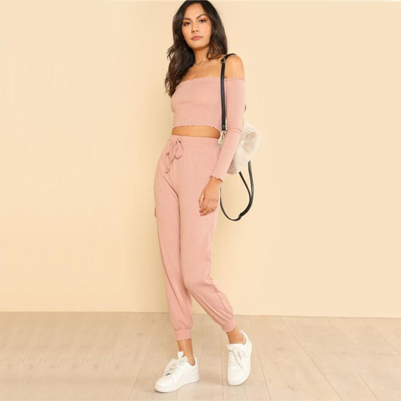 Emely Burger Two Piece Two-Piece Casual Clothing Type_Pants Clothing Type_Two Piece Cotton Drawstring