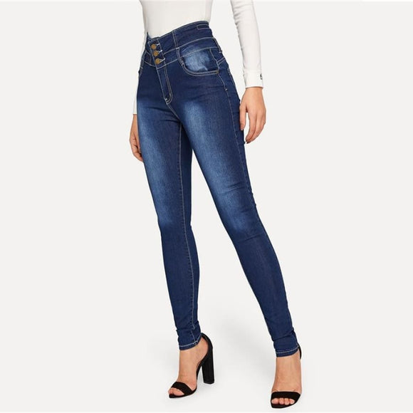Fabiola High Waist Buttoned Denim Bottoms Blue Button Fly Casual Clothing Type_Jeans Clothing Type_Leggings