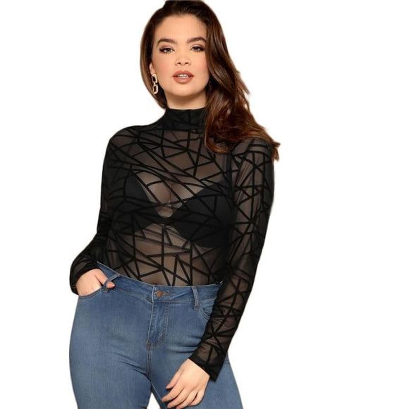 Fiona Geometric Mesh Top Tops Clothing Type_Tops & Blouses New New Trends Plus Size Season_Summer