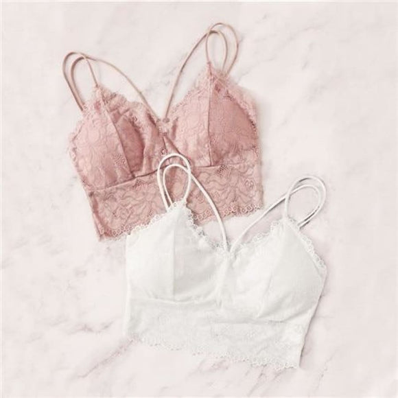 Floral Lace Long Line Bralette Comfy Bras Clothing Type_Lingerie New Trends Season_Fall Trends 2019