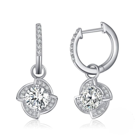 Flower CZ Silver Drop Earrings Jewelry 2019 Earrings Gemstone Jewelry Type_Sterling Silver Earrings New Silver Jewelry