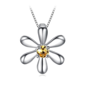 Flowers Created Orange Sapphire Necklace Jewelry 2019 Gemstone Jewelry Type_Pendants & Necklaces Necklace New Silver Jewelry