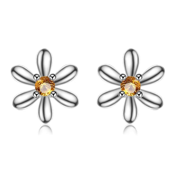 Flowers Created Orange Sapphire Stud Earrings Jewelry 2019 Earrings Gemstone Jewelry Type_Sterling Silver Earrings New Silver Jewelry