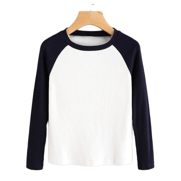 Gabriel Contrast Raglan Sleeve Tee Tops Broadcloth Clothing Type_Tops & Blouses Cotton Fabric Has No Stretch Fall