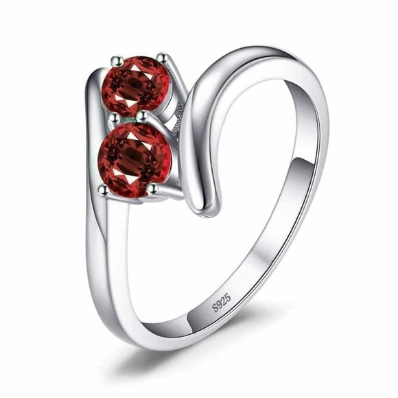 Garnet Band Ring 6 / Red Jewelry 2019 Gemstone Jewelry Type_Sterling Silver Rings New Silver Jewelry New Trends