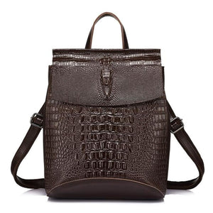 Genuine Leather Back Bag Crocodile Pattern Dark Gray / China / 17 Inches Bags Bag New Trends Trends 2019