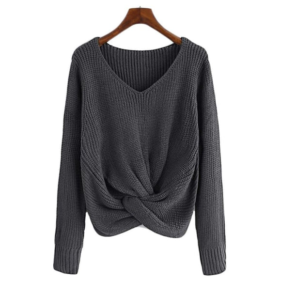 Georgina Twist Front Sweater Tops Asymmetrical Beige Casual Clothing Type_Tops & Blouses Fall