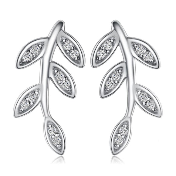 Glam Leaf Stud Earrings Jewelry 2019 Earrings Gemstone Jewelry Type_Sterling Silver Earrings New Silver Jewelry