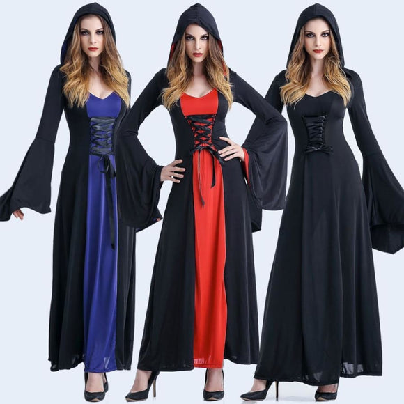 Gothic Witch Long Hooded dress Costume 2019 Clothing Type_Halloween Costumes Costume New Trends Trends 2019