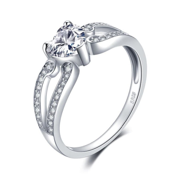 Heart Love CZ Ring 6 / White Jewelry 2019 Gemstone Jewelry Type_Sterling Silver Rings New Silver Jewelry New Trends
