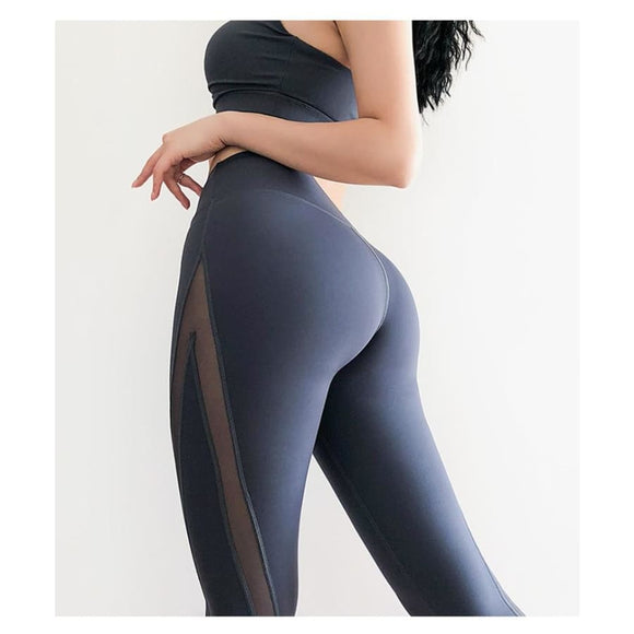 High Waist Mesh Solid Yoga Pants Fitness Contrast Mesh Fitness_Leggings Legging New Trends Trends 2019