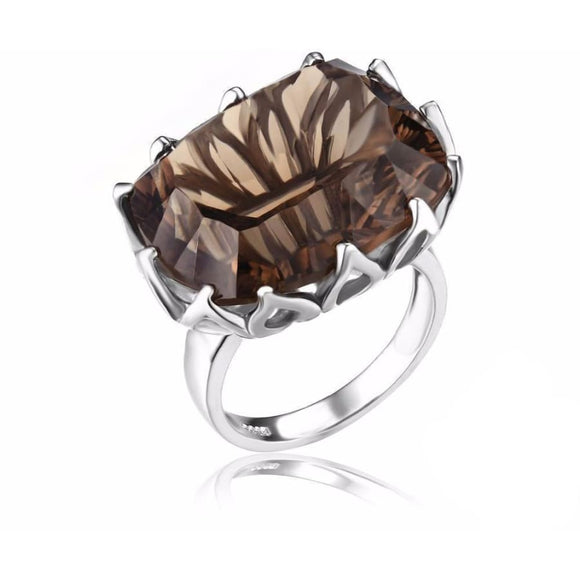 Huge Concave Natural Smoky Quartz ring 6 / Taupe Jewelry 2019 Gemstone Jewelry Type_Sterling Silver Rings New Silver Jewelry New Trends