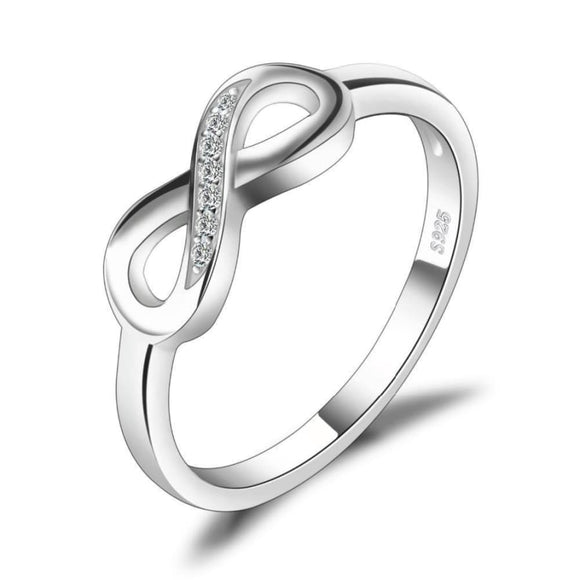Infinity Cz Band Ring 6 / White Jewelry 2019 Gemstone Jewelry Type_Sterling Silver Rings New Silver Jewelry New Trends
