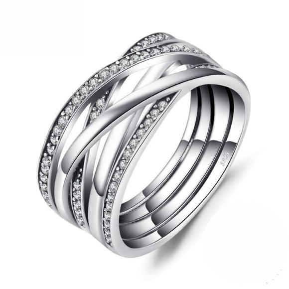 Infinity Dazzling Anniversary Band Ring 6 / White Jewelry 2019 Gemstone Jewelry Type_Sterling Silver Rings New Silver Jewelry New Trends