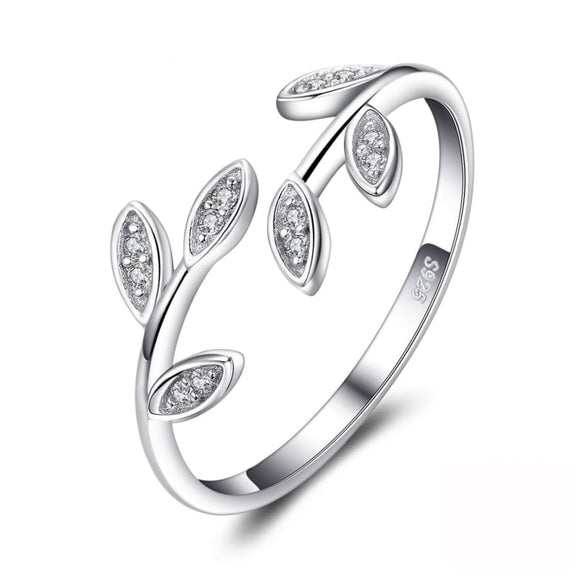 Leaf Open Silver Ring Jewelry 2019 Gemstone Jewelry Type_Sterling Silver Rings New New Silver Jewelry