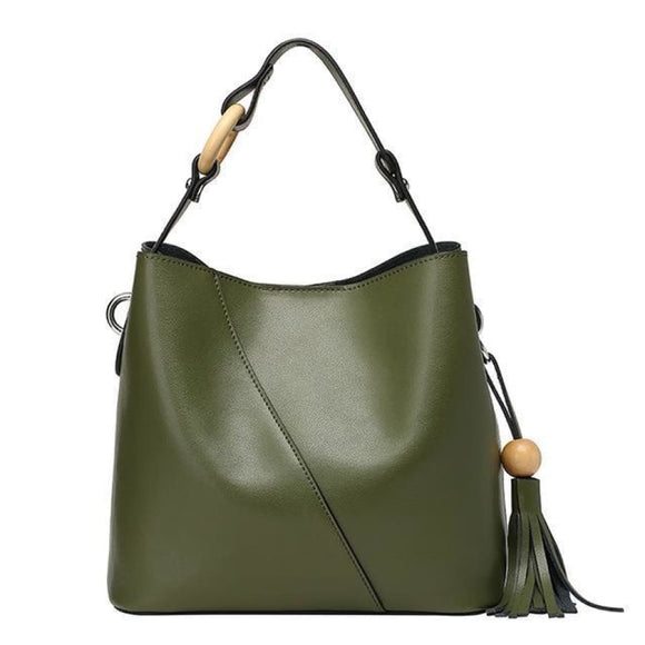 Leather Cross Body Bucket Bag Green Bags New Trends Shoulderbag Trends 2019