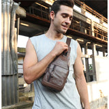 Leather Shoulder Sling Bag Men Bag Mens Gifts_Leather Bags & Wallets New Trends Trends 2019