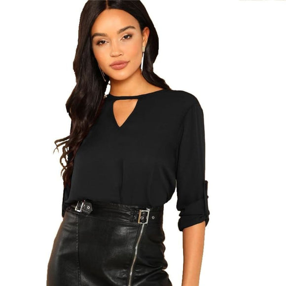 Linda Black Cut Out Top Tops Clothing Type_Tops & Blouses New Trends Season_Fall Top Trends 2019