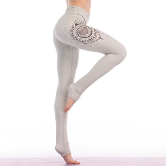 Lotus Print Yoga Pants High waist Gray / S Fitness Fitness_Leggings Legging New Trends Trends 2019