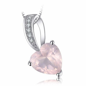 Love Heart Pink Quartz Pendant Pink Jewelry 2019 Gemstone Jewelry Type_Pendants & Necklaces New Silver Jewelry New Trends