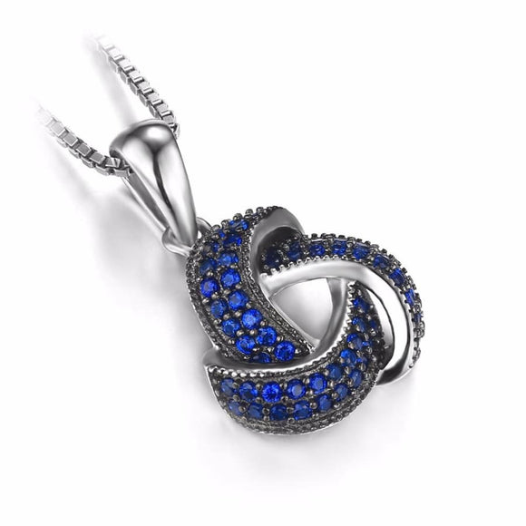 Love Knot Slide Silver Pendant Blue Jewelry 2019 Gemstone Jewelry Type_Pendants & Necklaces New Silver Jewelry New Trends