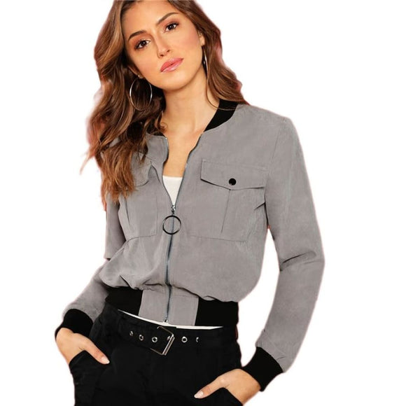 Magdalena Bomber Gray Jacket Coats & Jackets Clothing Type_Coats & Jackets Coat/Jacket New Trends Season_Fall Trends 2019