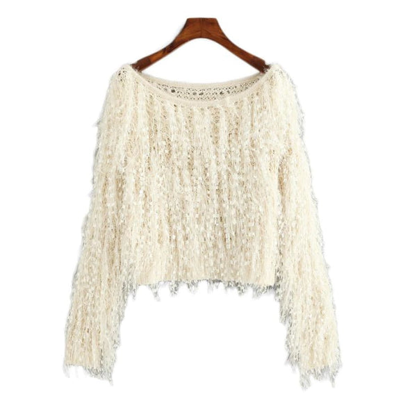 Marcia Apricot Fringe Knitted Sweater Apricot / S Tops Clothing Type_Tops & Blouses New Trends Season_Fall Top Trends 2019